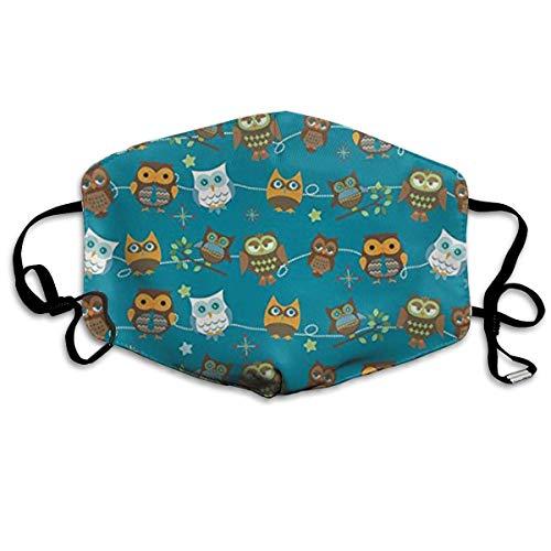 Daawqee Staubschutzmasken, Christmas Halloween Owls Anti-Dust Cotton Mask,Unisex Face Mouth Mask for Kids Teens Men ()