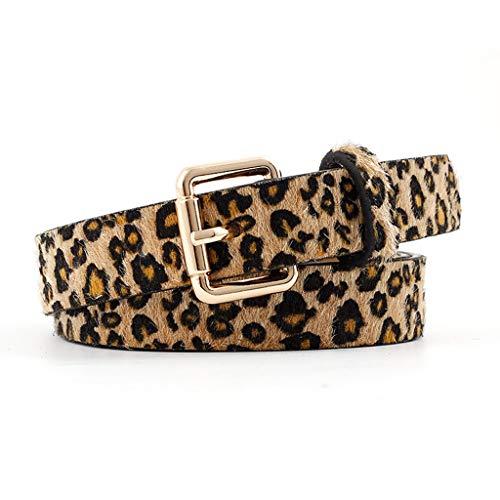 Gjyia Mujeres Retro Cinturón Moda Leopardo Manchado Decorativo Salvaje Cinturón Hebilla Cinturones