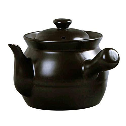 Gyl Kochender Pot Potion Casserole Jar Hitzebeständige keramische Pfingstrosen-Suppen-Topf-Topf-Eintopf-Topf (Color : Black, Size : 16CM*14.5CM)