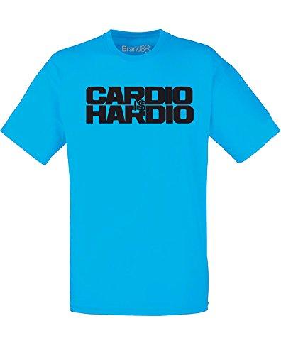 Brand88 - Brand88 - Cardio is Hardio, Mann Gedruckt T-Shirt Azurblau/Schwarz