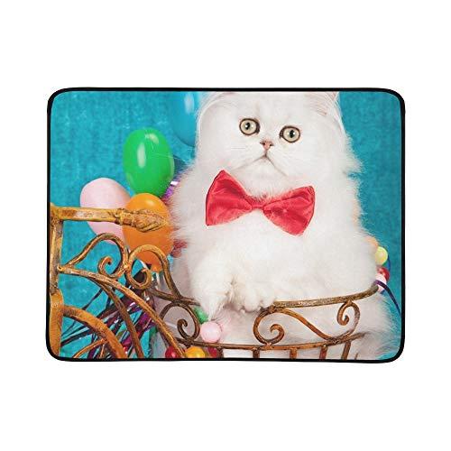 WOCNEMP Silbernes Chinchilla-persisches Kätzchen-rustikale Miniatur-tragbare und Faltbare Deckenmatte 60x78 Zoll-handliche Matte für kampierende Picknick-Strand -