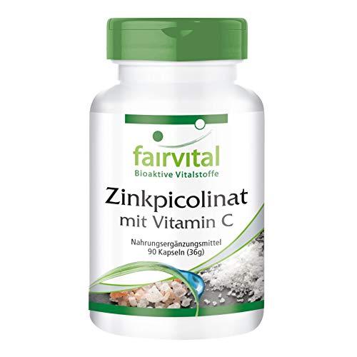 Zinkpicolinat mit Vitamin C - GROSSPACKUNG - VEGAN - HOCHDOSIERT - 90 Kapseln - mit 15mg Zink pro Kapsel