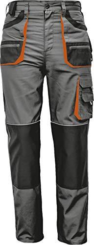 Stenso des-Emerton® - Herren Arbeitshose Bundhose/Cargohose - Grau/Schwarz/Orange EU52