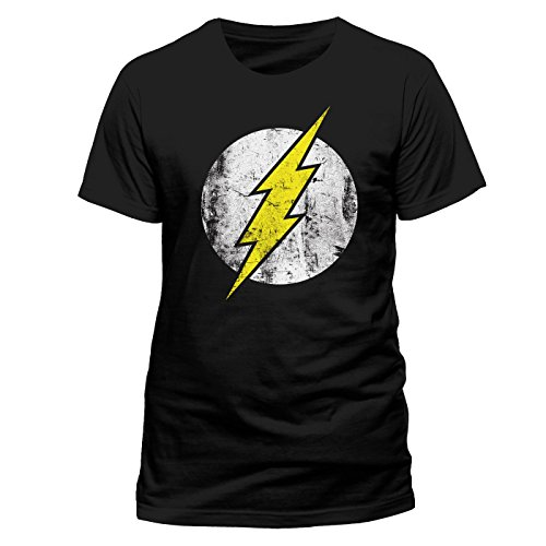 THE FLASH DISTRESSED Logo Herren T-Shirt Offizielles Lizenzprodukt|schwarz-XXL -