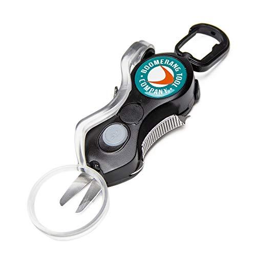 Boomerang Tool Company Cheater Snip Angelschnurschneider mit U/V LED-Licht, Lupe und Edelstahlklingen, die Das Geflecht sauber und glatt jedes Mal schneiden! (Schwarz)
