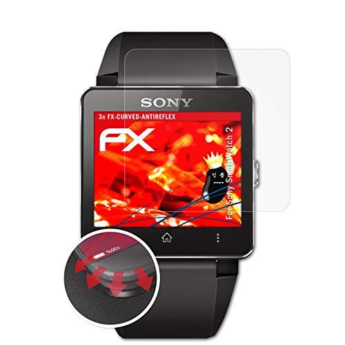 atFoliX Schutzfolie passend für Sony SmartWatch 2 Folie, entspiegelnde & Flexible FX Bildschirmschutzfolie (3X)
