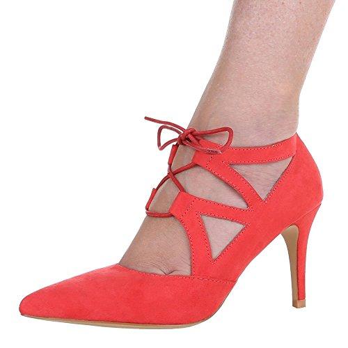 Ital-Design – Scarpe con Tacco Donna , Rosso ...