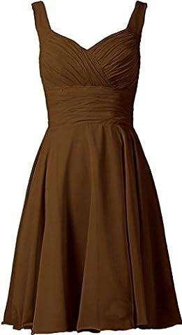 HUINI Falte kurz Ballkleider Chiffon Kleid der Brautjungfer Hochzeitskleid Ballkleider Brown 44