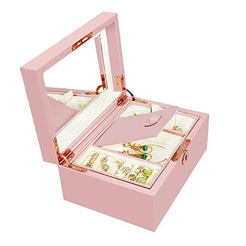 ZZD Leder Schmuckschatulle, eingebauter Spiegel, 2-lagig, Halskette mit großer Kapazität, Ohrringe, Ring, Armbandaufbewahrung, Geeignet für Damen und Mädchen (Pink) (Kinder Kommode Spiegel)