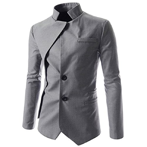 CuteRose Men Stylish Fake Two Single-breasted Dovetail Silm Fit Jackets Blazers Light Grey M - Burberry Light