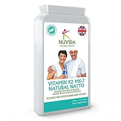 Vitamin K2 MK-7 / 100mcg / 120 Capsules from Natural Natto / Supports a healthy vascular (arteries and veins) system / Helps Maintain Strong Bones / 100% Quality Assurance from THC LTD