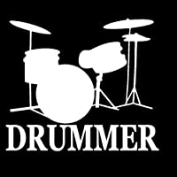 MCTYLI 14.3CM*12.5CM Drummer Snare Bass Pedal Drumset Drum High Hat Vinyl Car Sticker
