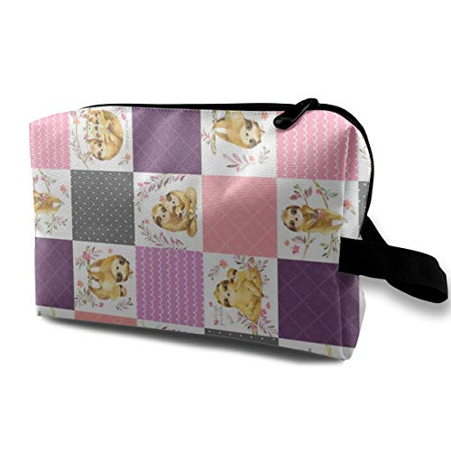 Sloth Cheater Quilt ROTATED - Patchwork Blanket Baby Girl Bedding, Plum Peach Pink Grey Travel Makeup Case Train Makeup Cosmetic Bag Organizer Portable Artist Adjustable Storage Bag