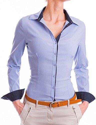 Baumwolle-seide-shirt Arbeiten (Damen Figurbetonte Langarm Bluse Business Hemd Tailliert Business (532), Farbe:Blau, Größe:X-Large)