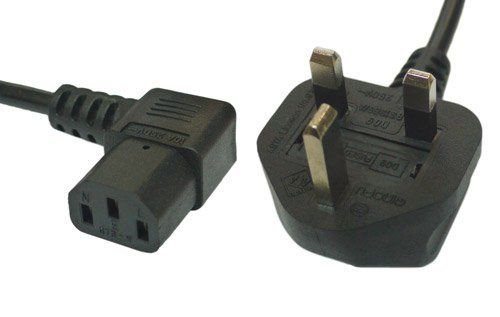 2m Mains Power Cable with 90 Degree Right Angled Kettle Type IEC Socket by electrosmart®