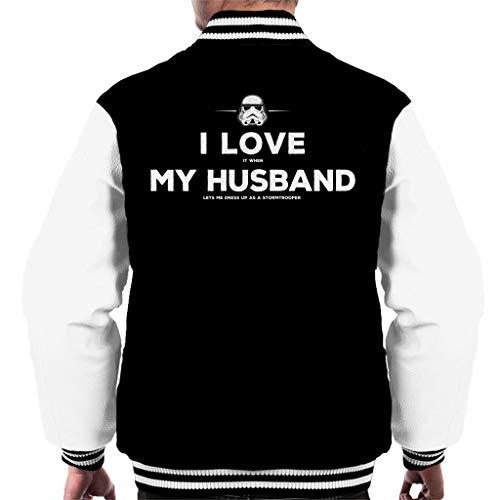 Original Stormtrooper Husband Lets Me Dress up Men's Varsity Jacket (Jedi Up Dress)