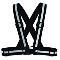 ‏‪Reflective Vest with High Visibility Adjustable Elastic Safety Belt for Night Running Cycling Motorcycle (Black)‬‏