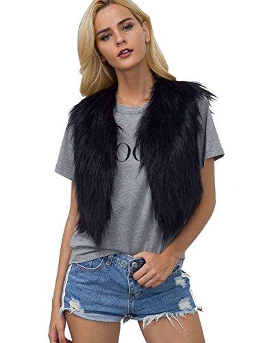 VLUNT Fellweste Damen elegant Weste Fell Jacke Ärmellose Pelz Westen Faux Fur Vest Gilet Waistcoat Kunstpelz Weste Schwarz-L (Fell Damen Weste)