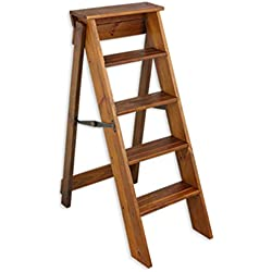 GEXING-Ladders Escalera Plegable Multifuncional Un Lado Escalera Estante Casa Biblioteca Sencillo Y Moderno.Madera Maciza 2 Colores,Light-Walnut