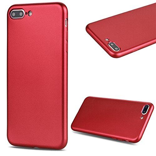 GrandEver iPhone 7 Plus Hülle Silikon Schutzhülle Einfarbig Serie Flexible TPU Gel Schutz Klar Handytasche Anti-Kratzer Stoßdämpfung Ultra Slim Matte Rückseite Silicon Case Backcover Protective Cover  Rot