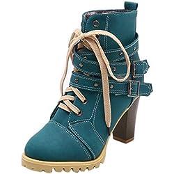 ZODOF Botas Planos Alto Top de Medieval Style para Mujer,Zapatos de Mujer con Cordones Hebilla Romana Botines Romanos Navidad Boots
