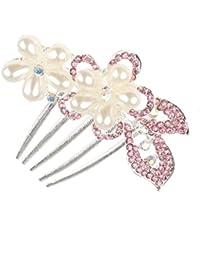 Clip Peineta Peine de Cabello Pelo 5-pin Pétalo de Rosa Perlas Artificiales Diamantes de Imitación # 3