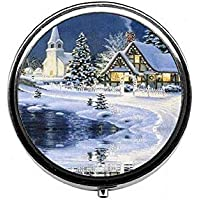LinJxLee Christmas Snow House Round Pill Case Pill Box Tablet Vitamin Organizer Easy to Carry preisvergleich bei billige-tabletten.eu