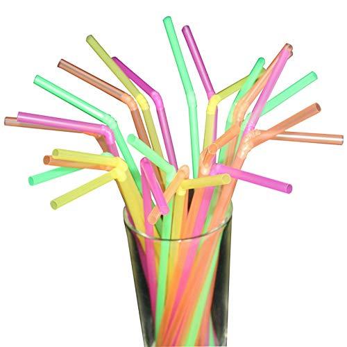 Trinkhalme, Kunststoff, flexibel, biegsam, Neonfarben, 200 Stück