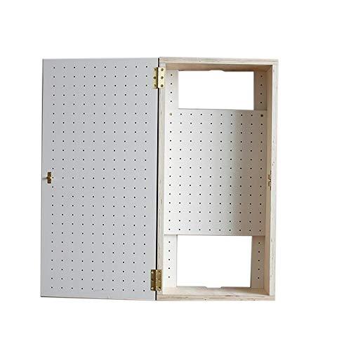 JCNFA Wandmontage WLAN Router Patchpanel Aufbewahrungsbox Wandmontierter WiFi-Speicher Holzlochplatte Lagerschrank - Weiß Birkenfurnier