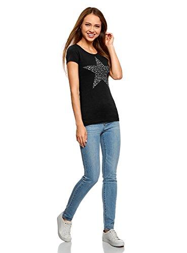 oodji Ultra Damen T-Shirt mit Stern Aus Strasssteinen Schwarz (2991P)