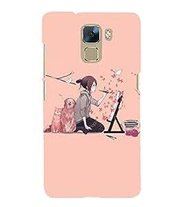 printtech Anime Cute Beautiful Girl Art Back Case Cover for Huawei Honor 7 Enhanced Edition / Huawei Honor 7 Dual SIM with dual-SIM card slots