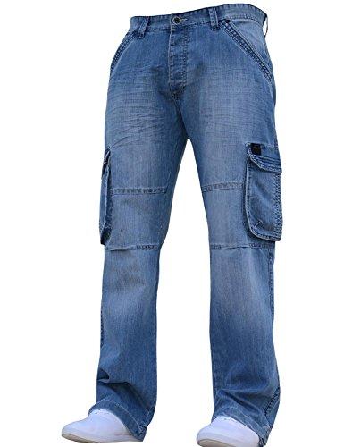 92896f7571d New Mens Designer Heavy Duty Multi Pocket Dark Cargo Combat Denim Jeans  Pants All Waist