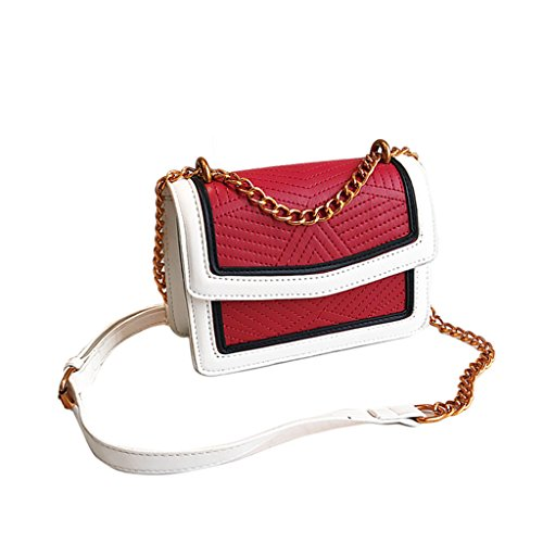 Frauen Kleine Kette Tasche, PU Leder Schulter Cross Body Pouch Mini Nette Flap Bag (19 * 7 * 14 Cm) (Farbe : Red)