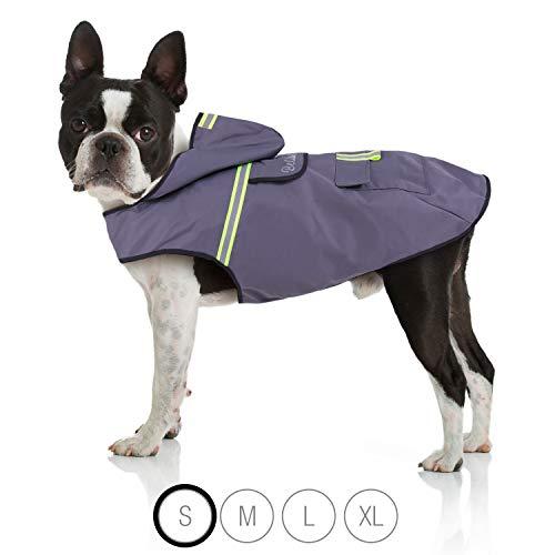 Bella & Balu Hunderegenmantel - Wasserdichter Hundemantel mit Kapuze und Reflektoren für trockene, sichere Gassigänge, den Hundespielplatz und den Urlaub mit Hund (S | Grau)