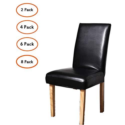 PUDDINGHH® Stuhlhussen 2/4/6/8Er, Wasserdichtes Pu Leder Stretch Stuhl-Bezug Bi-Elastische Schutz-Husse, Dekor Moderne Spann-Abdeckung,2pack - Leder Stuhl-abdeckung