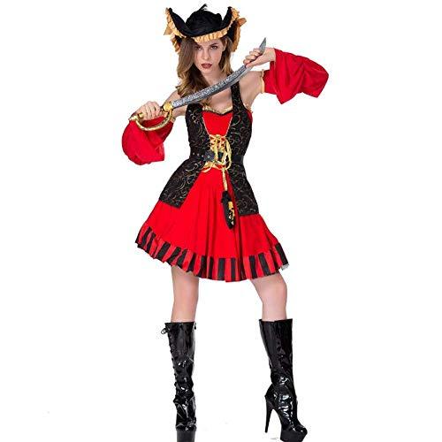 TUWEN Halloween-KostüM Fluch Der Karibik Captain KostüM Cosplay Rolle BüHne Spielen Zeigen Kleidung