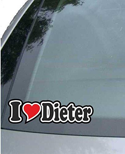 Preisvergleich Produktbild INDIGOS UG - Aufkleber / Autoaufkleber I Love Heart - Ich Liebe mit Herz 15 cm - I Love Dieter - Auto LKW Truck - Sticker mit Namen vom Mann Frau Kind