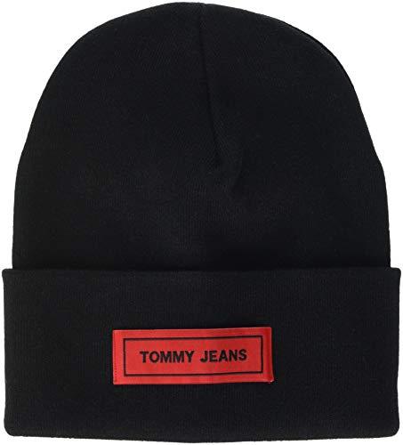 Tommy Hilfiger Herren TJU Tape Beanie Strickmütze, Schwarz (Black 002), One Size (Herstellergröße: OS)