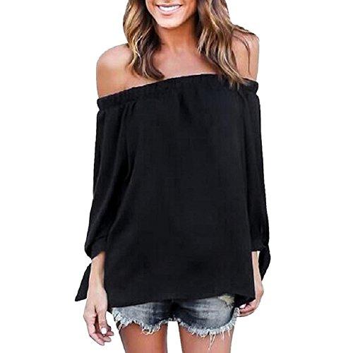 Culater® Manga larga de las mujeres del hombro ocasionales camisa de la blusa Tops (XL, Negro)