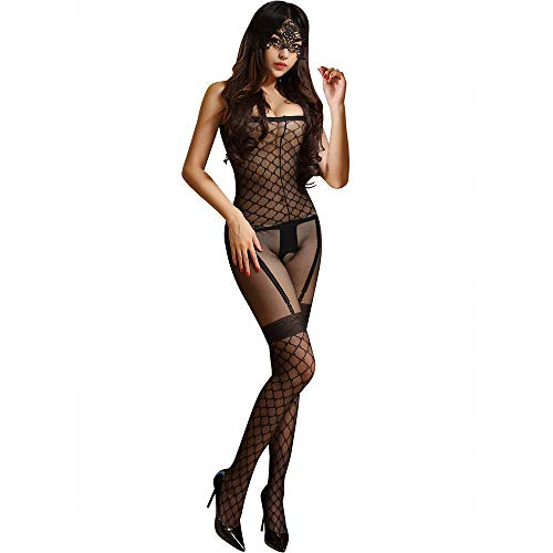 Bpzzy Europa und die Vereinigten Staaten Erotische Dessous Damen Transparente Mesh Open File Overall Uniform Versuchung Stück Schwarze Strümpfe (Color : Black)