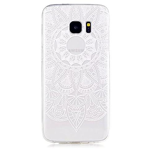 MUTOUREN TPU coque pour Samsung Galaxy S7 Edge silicone transparent Crystal cover case protection Anti-poussière housse etui Anti-shock case étanche Résistante Très Légère Ultra Slim cas Soft bumper doux Couverture Anti Scratch -fleur blanc