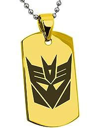 Acero Inoxidable Transformers Decepticon Crest Grabado Placa de Identificación del Colgante