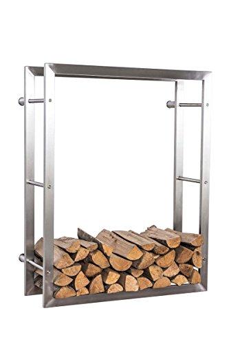 CLP exklusiver Kaminholzständer KERI für die Wand, rostfreier & robuster Edelstahl, bis zu 8 Größen wählbar 25 x 80 x 150 cm