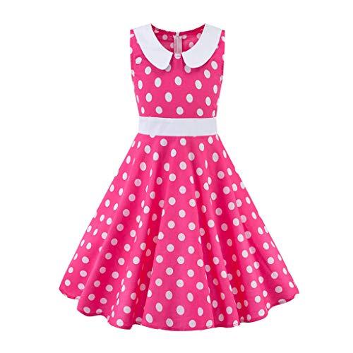 Livoral Baby Madchen Kleid Kinder Teen Kinder Mädchen Vintage 1950er Jahre Retro ärmellose Blumendruck lässige Kleidung(Pink,Small)