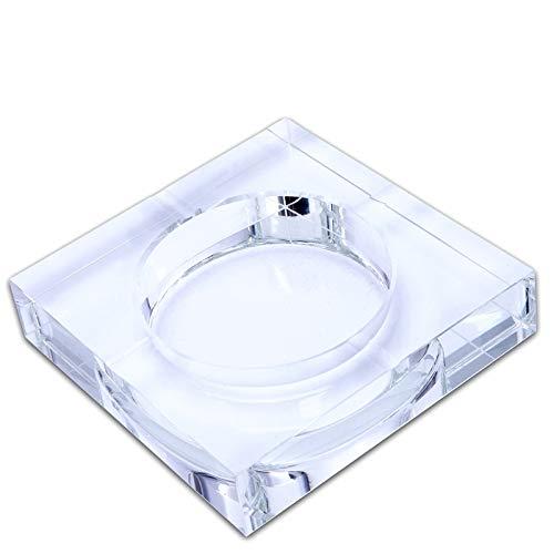 ACAMPTAR Modernes Zuhause/Buero Art Deco Portable Square Crystal Aschenbecher Transparent Modell 10 cm -