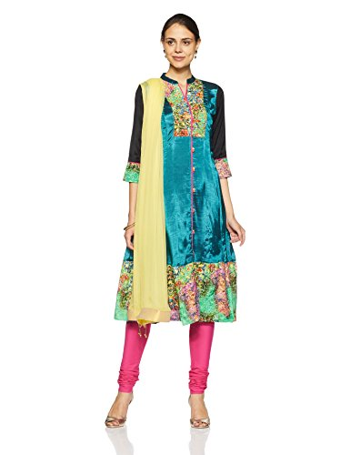 Rain and Rainbow Women's Anarkali Salwar Suit (SKD-4409-AW/13-07_Teal_M)