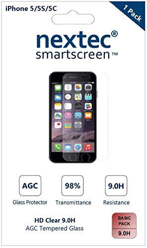 Nextec iPhone 5 Schutzfolie Gehärtetem Glas Panzerglas, iPhone 6 Displayschutzfolie Schutzfolie Displayschutz Screen Protector für Apple iPhone SE/ 5S/ 5C/ 5 (HD Clear 9.0H) AGC Glas (Protector Screen 5c)