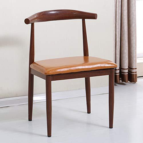 seeksungm Chair, Single imitation wood Horn Chair, Low Carbon Eco-Friendly Restaurant Chair, simple Casual Armchair, Total height 75 cm * Width 47 cm, Red Pear (Dark Brown PU Pad)
