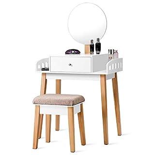 COSTWAY Schminktisch mit Hocker, Frisiertisch Set mit Schublade, Frisierkommode weiß, Kosmetiktisch mit Spiegel