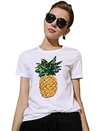 11d5f02a8a6ef WanYang Top T-shirt Femmes Manches Courte Imprimé Ananas Paillettes Blouse  Casual Chemise